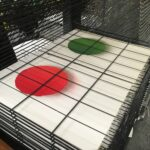 Red and Green Pastille prints before white layer is printed