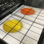 Yellow and Orange Pastille prints before white layer is printed