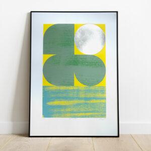'Dawn 1 - Green/Yellow' Full print framed view